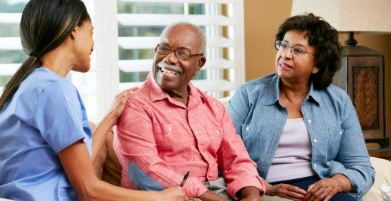 seniors listening to caregiver